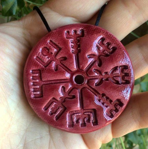 Achat Pendentif viking vegvisir protecteur en céramique