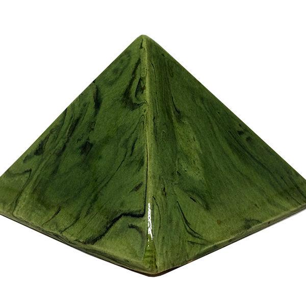 Achat pyramide - pyramide énergétique en céramique (côté 9 cm) - vert lotus