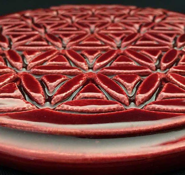 bénéfices de la fleur de vie en céramique, bienfaits de la fleur de vie, comment elle agit, céramique rouge