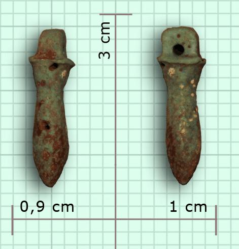 Le véritable pendule de thot - Amulette Ouadj en grès, hauteur 3cm