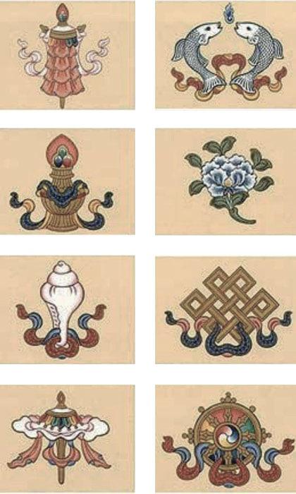 Les 8 Ashtamangala et noeud infini ou noeud sans fin