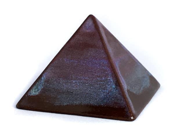 """Achat pyramide - pyramide énergétique en céramique (côté 9 cm) - """"Brun bleuté"""""""